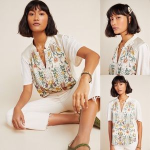 Anthropologie Eliana Floral Embroidered Top